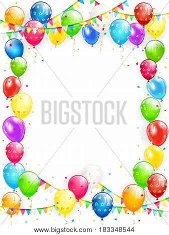 Birthday theme, frame of flying colorful balloon,s multicolored pennants and confetti on white background, illustration.