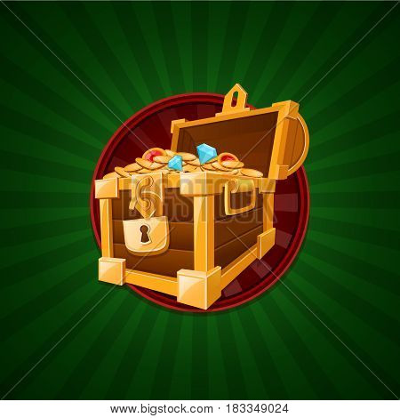 treasure concept. Vector illustration of treasure chest
