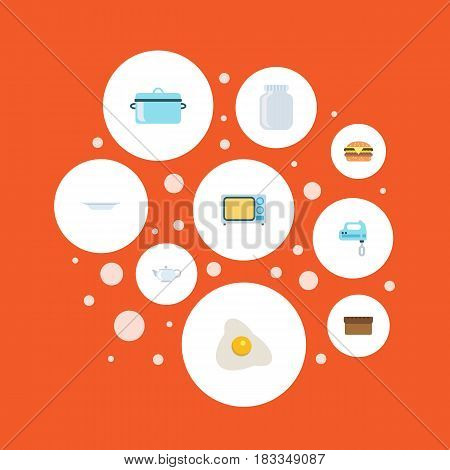 Flat Casserole, Omelette, Loaf And Other Vector Elements. Set Of Cooking Flat Symbols Also Includes Omelette, Blender, Saucepan Objects.