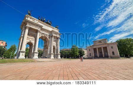 Milan - May of 2014, Lombardy (Lombardia) region, Italy: Arco della Pace The Arch of Peace in Milan
