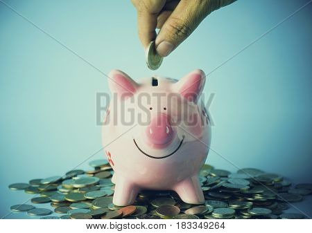 hand put coins on piggy bank concept in save and invest in capital money business