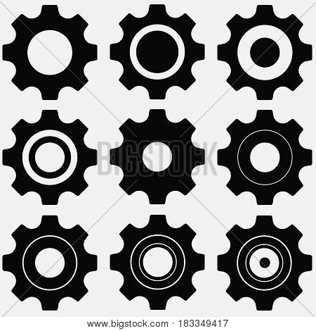 gears icon set isolated on background. Vector illustration. Eps 10.