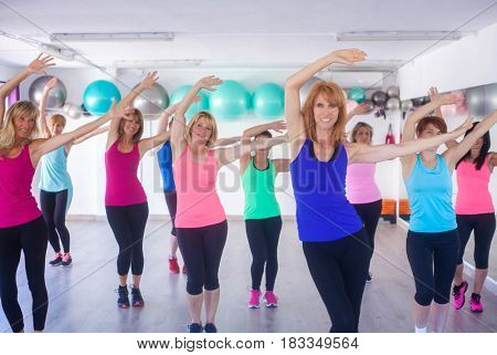 group fitness class, women training