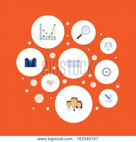 Flat Cogwheel, Group, Magnifier And Other Vector Elements. Set Of Job Flat Symbols Also Includes Statistics, Cog, Weight Objects.
