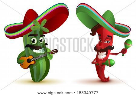 Red hot chili peppers and cactus in Mexican hat sombrero dancing maracas. Isolated on white vector illustration