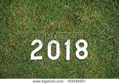 Number 2018 for the new year 2018 on green plant background.Future and time passing concept.
