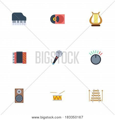 Flat Tambourine, Retro Disc, Musical Instrument And Other Vector Elements. Set Of Audio Flat Symbols Also Includes Octave, Control, Speaker Objects.