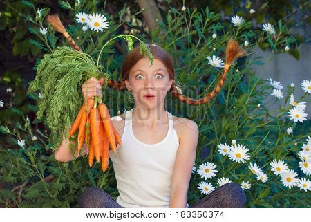 healthy child in vegetable garden