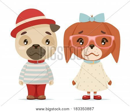 cute puppy dogs boy girl geek cubs hipster mascot cartoon design flat vector illustration