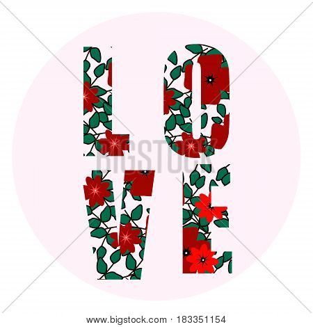 LOVE Happy Valentines day card, Font Type, love sign , flowers