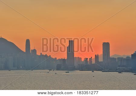 Harbor In Hong Kong At Sunset