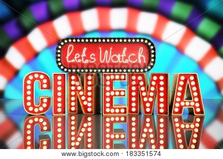 Cinema Had Light Concept Nave Lets Watch Cinema 3D Render On Grey