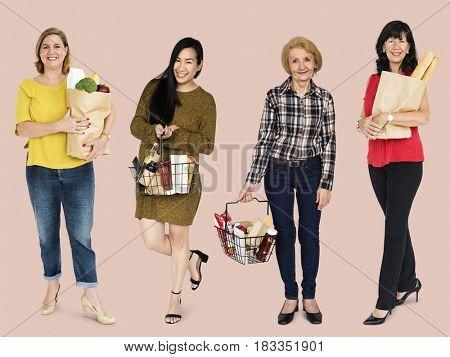 Women Buy Grocery Store Food Basket Studio Portrait Isolated