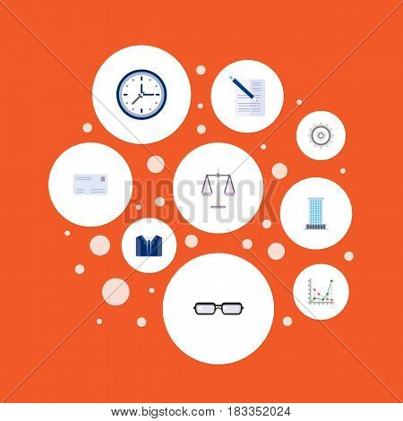 Flat Contract, Diagram, Cogwheel And Other Vector Elements. Set Of Business Flat Symbols Also Includes Statistics, Post, Office Objects.
