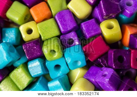 Lot of colorful cubed beads for decoration and handcraft