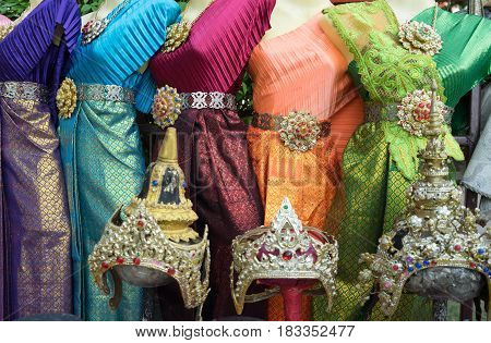 close up of thai traditional dress and accessory