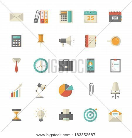25 flat office and business icons. EPS10