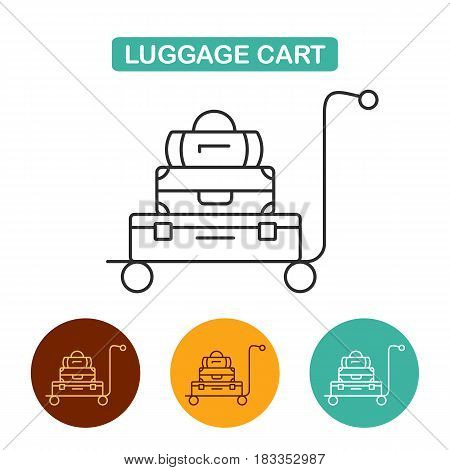 Luggage cart icon. Travel icon for web and graphic design. Line style logo.