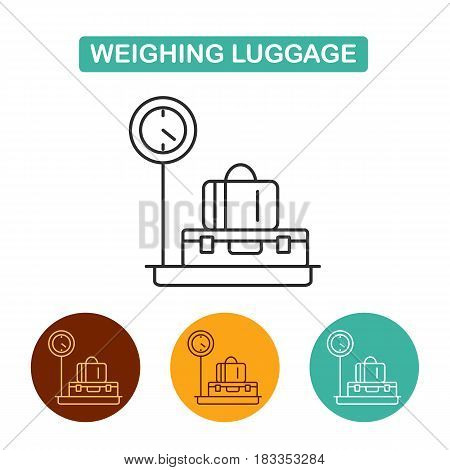 luggage weight icon. Suitcase on scales vector illustration. Travel icon for web and graphic design. Line style logo.