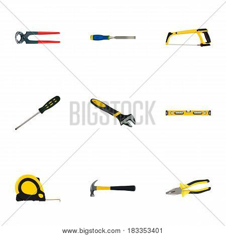 Realistic Claw, Pliers, Plumb Ruler And Other Vector Elements. Set Of Kit Realistic Symbols Also Includes Claw, Chisel, Wrench Objects.