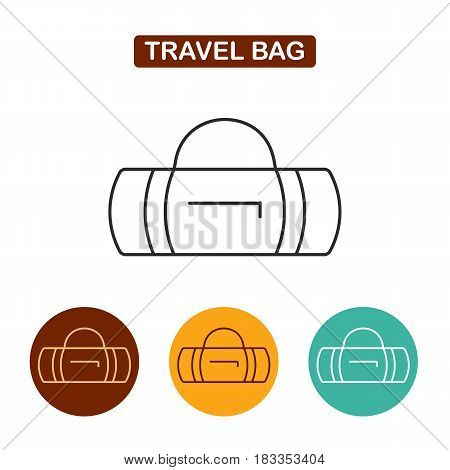 Travel bag icon. Sports bag vector illustration. Travel icon for web and graphic design. Line style logo.