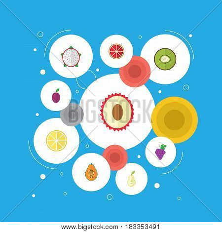 Flat Cluster, Pawpaw, Litchi And Other Vector Elements. Set Of Berry Flat Symbols Also Includes Fruit, Apricot, Lime Objects.