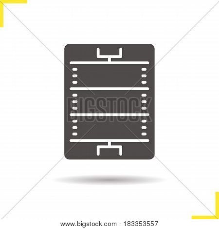 American football or rugby field glyph icon. Drop shadow silhouette symbol. Sport game stadium scheme. Negative space. Vector isolated illustration