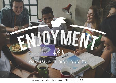Enjoyment word overlay young people
