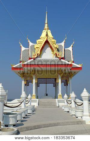 Public Thai Pavilion at Bang Ta Boon Bay at Phetchaburi Province Thailand.