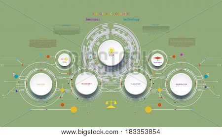 Infographic template timeline technology hi-tech digital and engineering telecoms can be used for your businessbook cover template bannerdiagram Infographic presentation Vector illustration