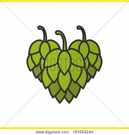 Hop cones color icon. Isolated vector illustration