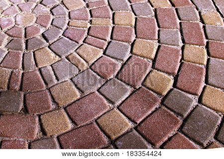 Background Colorful Circular Paving Slabs. Paving Slabs, Laid Out In Circles In The City Park Of Res