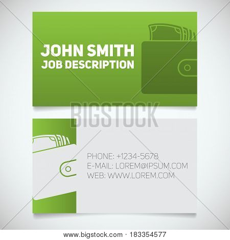 Business card print template with wallet full of cash logo. Manager. Financial analyst. Businessman. Stationery design concept. Vector illustration