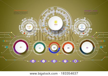 Vector illustration Hi-tech digital and engineering telecoms technology concept for infographic a business plan concept diagram flowchart steps parts timeline workflow layout and content chart.