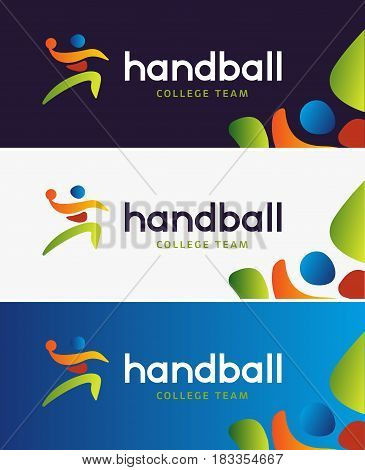Handball vector banner. Abstract colorful silhouette of player for tournament identity. Handball College Championship