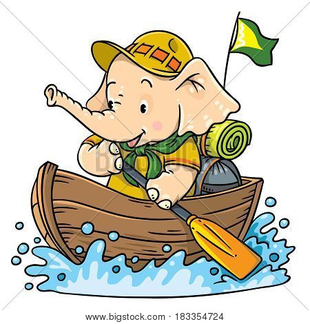 Scout. Funny baby elephant with backpack floating on a boat. Children vector illustration. Funny cartoon character. River tourism. Adventure camping