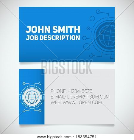 Business card print template with globe logo. Programmer. Internet service provider. Stationery design concept. Vector illustration