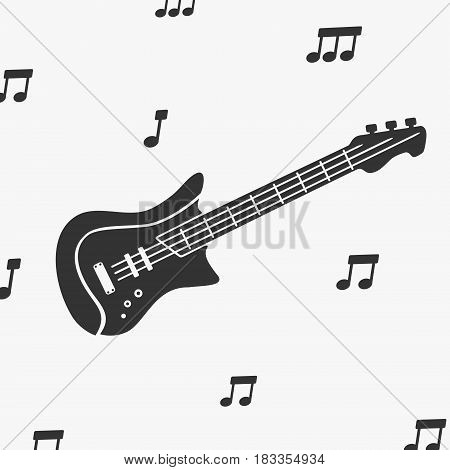 Guitar Silhouette and Notes Vector Illustration eps 8 file format