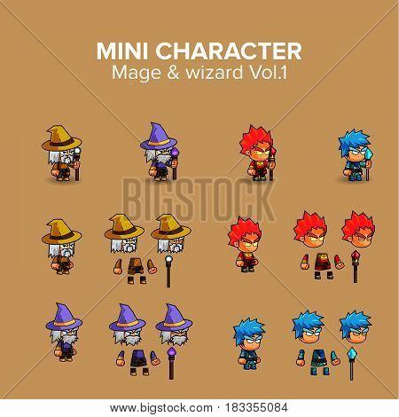 Mini Character magical kit. cartoon Vector Illustration design