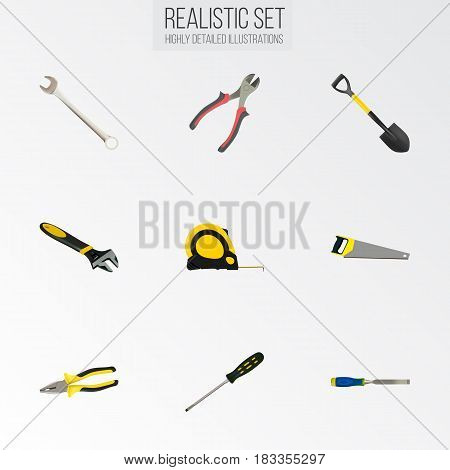 Realistic Pliers, Forceps, Hacksaw And Other Vector Elements. Set Of Construction Realistic Symbols Also Includes Pliers, Instrument, Chisel Objects.
