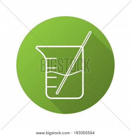 Beaker with rod and liquid. Flat linear long shadow icon. Chemistry experiment. Vector line symbol
