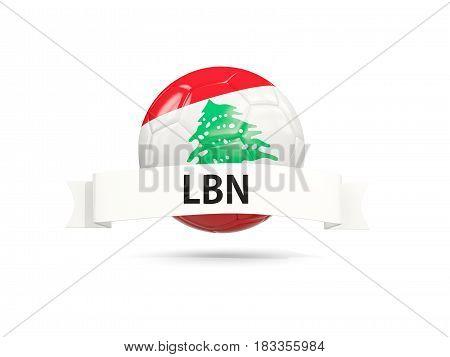 Football With Flag Of Lebanon