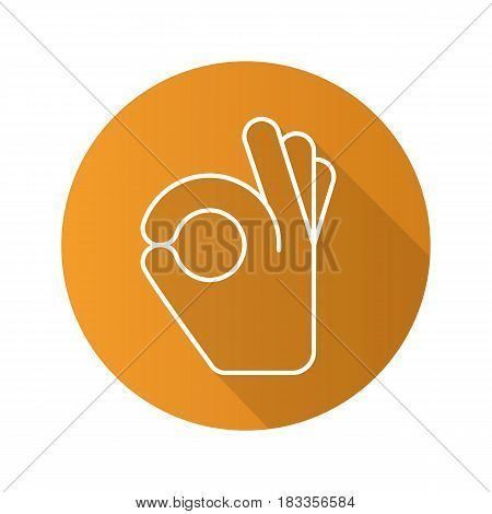 OK hand gesture. Flat linear long shadow icon. Vector line symbol