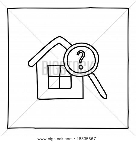 Doodle real estate house icon. Black white symbol with frame. Line art graphic design element. Web button. Buying house, renting apartment, looking for new home, moving concept. Vector illustration