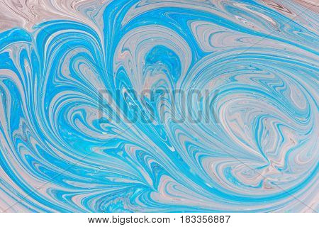 Abstract motion dynamic background. Blue and white color artistic pattern of paints. Swell artwork for creative graphic design.
