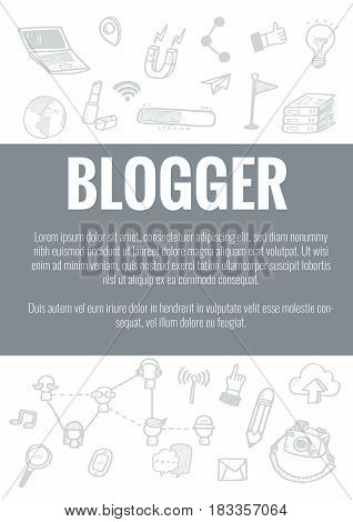 Vector Template For Blogger Theme With Hand Drawn Doodles Business Icon In Background.concept For Bu