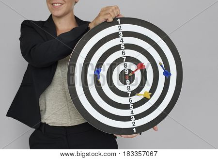 Businesswoman Dart Goal Target Success