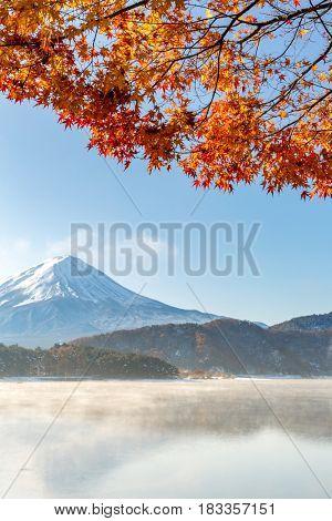 Mt. Fuji in autumn at Kawaguchiko or lake Kawaguchi with snow in Fujikawaguchiko Japan