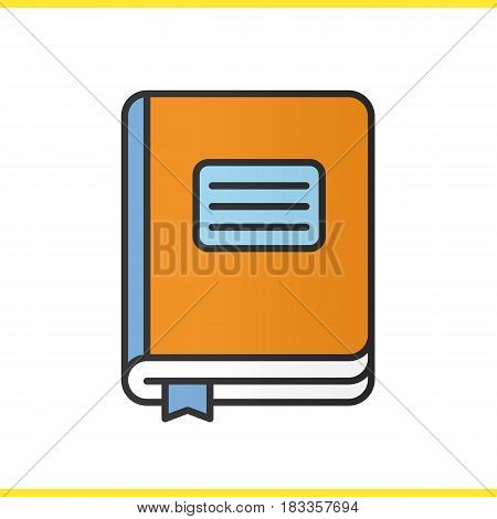 Diary notebook color icon. School journal with bookmark. Isolated vector illustration