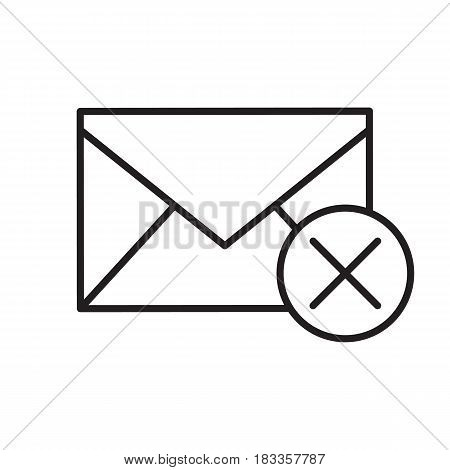 Delete email linear icon. Thin line illustration. Letter with cross contour symbol. Vector isolated outline drawing